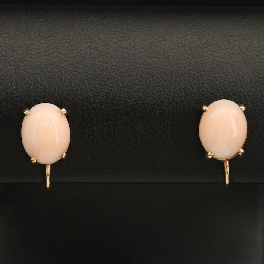 14K Coral Cabochon Earrings