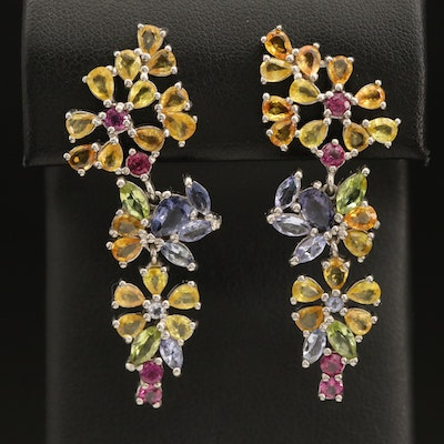 Sterling Floral Cluster Earrings Including Sapphire, Garnet and Peridot