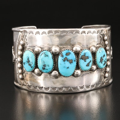 Fred Brown Navajo Diné Sterling Turquoise Leaf Cuff