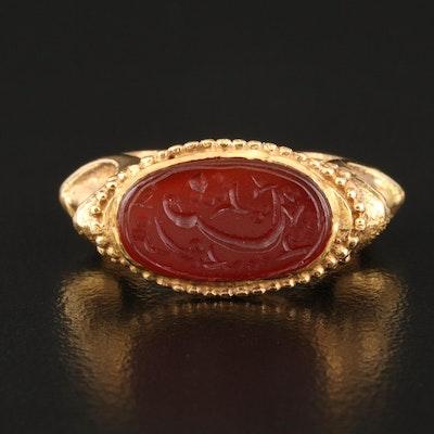 18K Carnelian Intaglio Ring