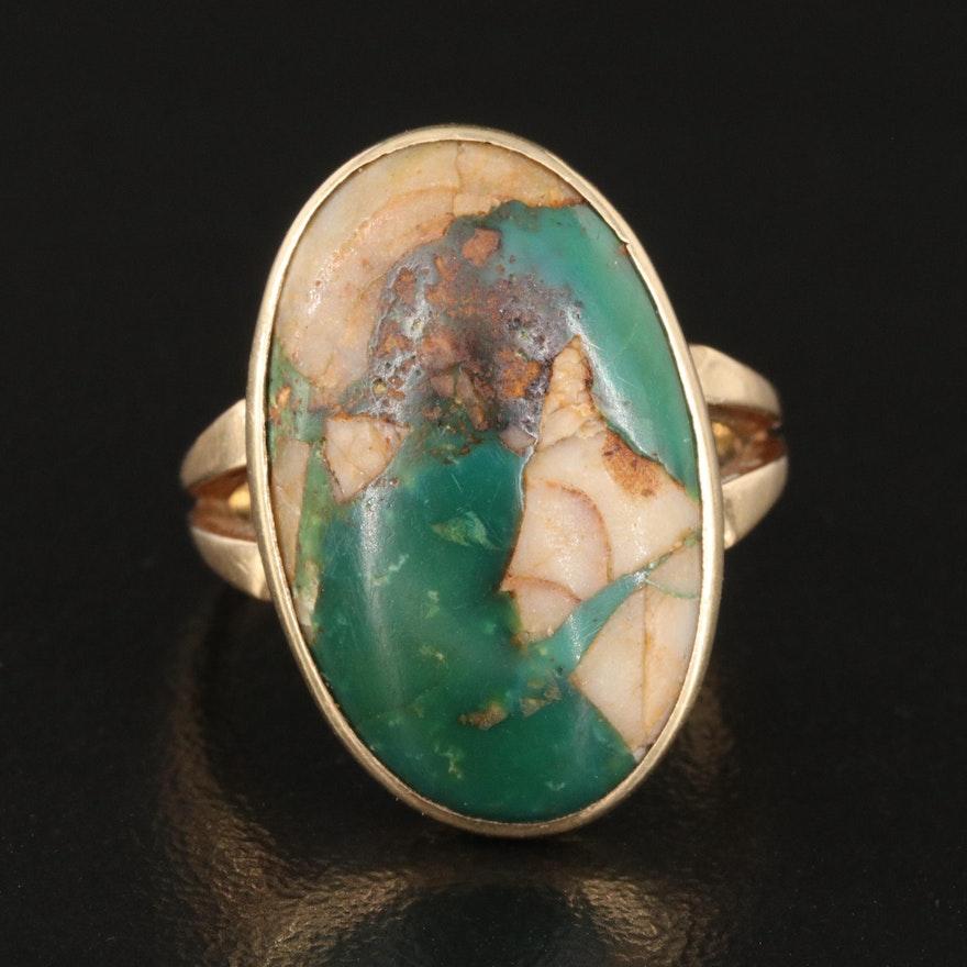 14K Bezel Set Oval Turquoise Cabochon Ring