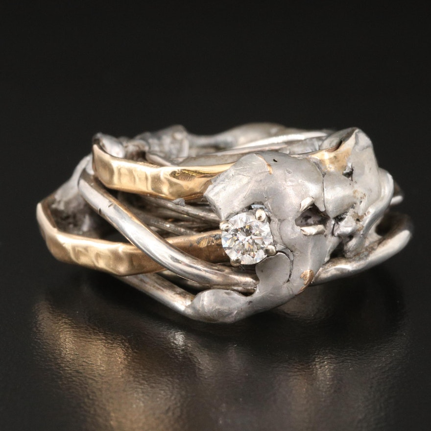 Artisan Diamond Sterling Ring with 14K Gold Tubing Accents