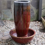 Red Drip Glaze Ceramic Fountain, Late 20th Century