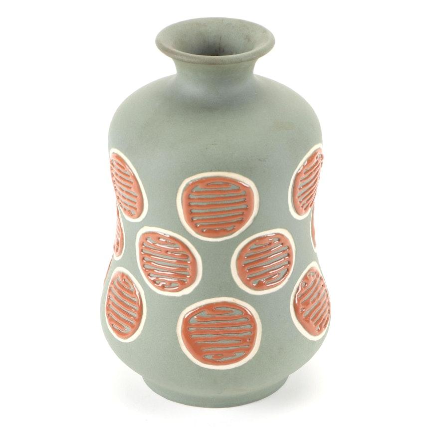 Loretta Holtkamp for Rookwood Pottery Polka Dot Ceramic Vase, 1954