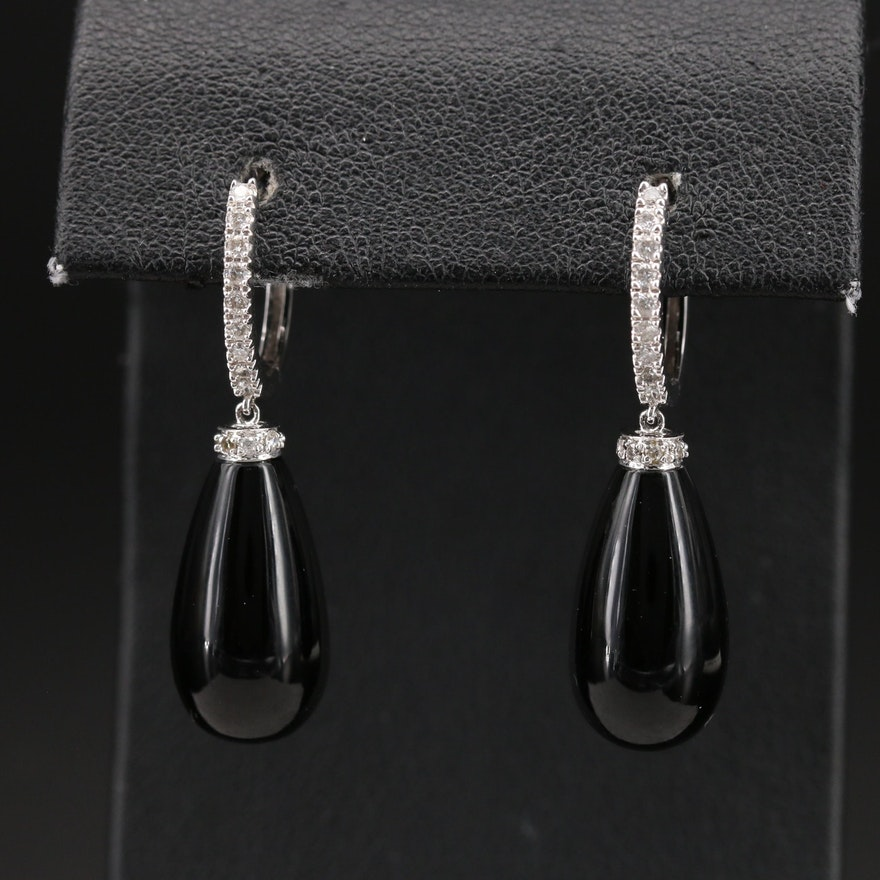 14K Diamond and Black Onyx Earrings