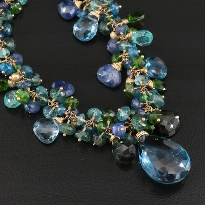 Talisman Unlimited 14K Sky and London Blue Topaz and Gemstone Necklace