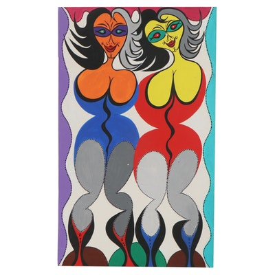 Achi Sullo Abstract Acrylic Painting of Two Female Figures
