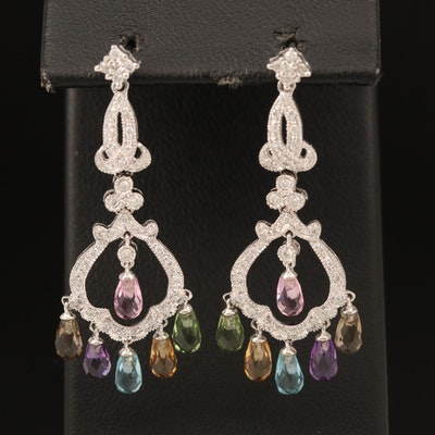 14K Gemstone Earrings Including Diamond, Topaz, Citrine, Peridot and Tourmaline