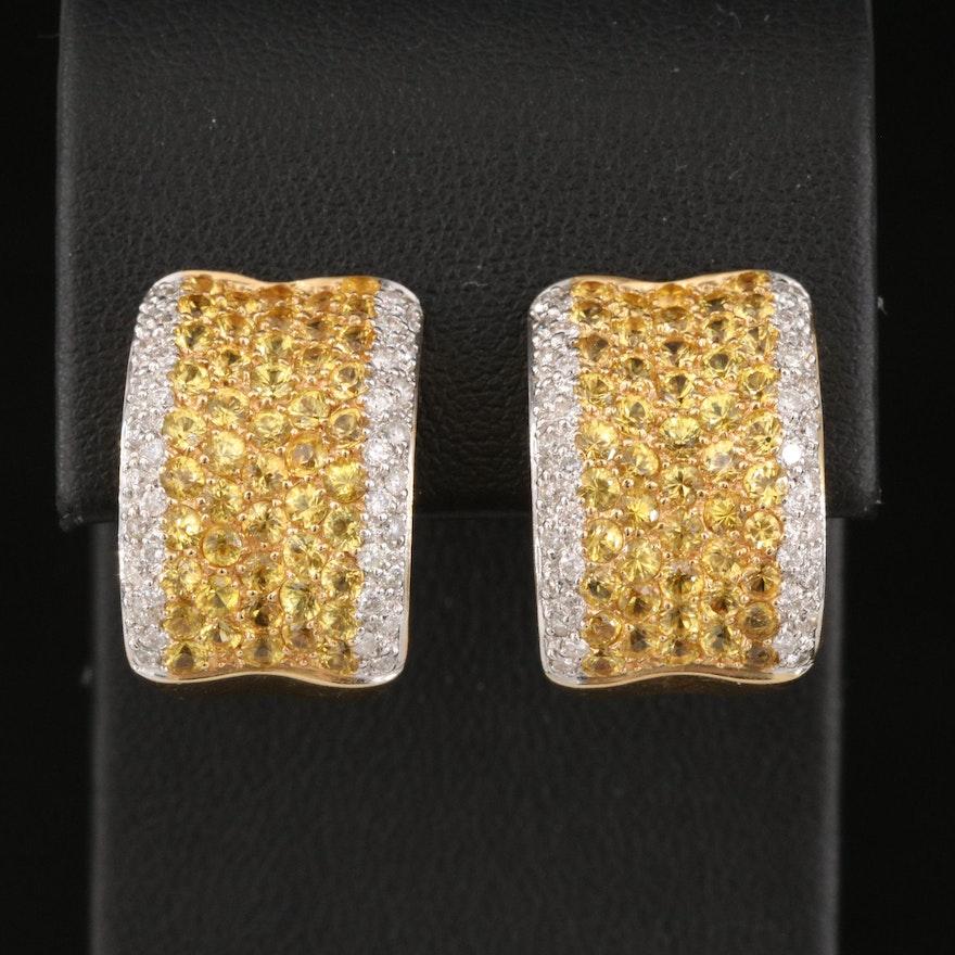 18K Concave Pavé Diamond and Yellow Sapphire J-Hoop Earrings