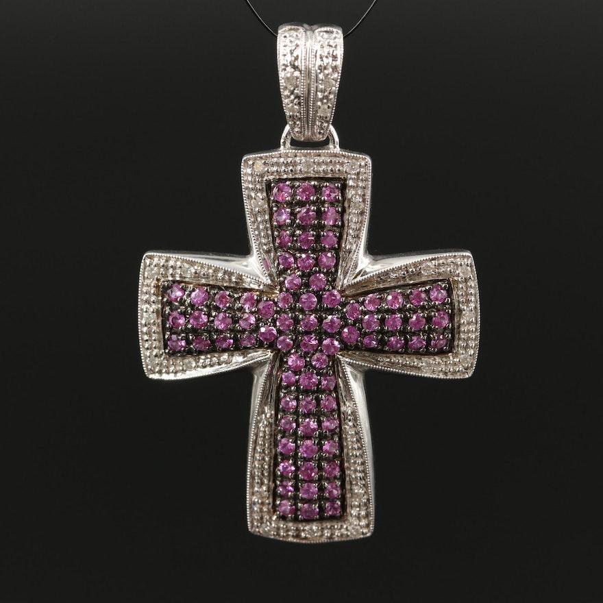 14K Pink Sapphire and Diamond Cross Pendant