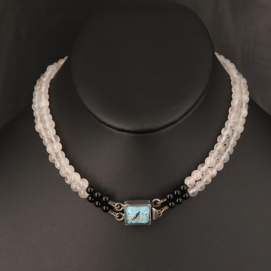Reverse Painted Equestrian Necklace Including Black Onyx and Quartz