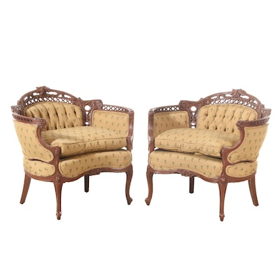 Pair of Louis XV Style Pierced-Carved Settees, 20th Century