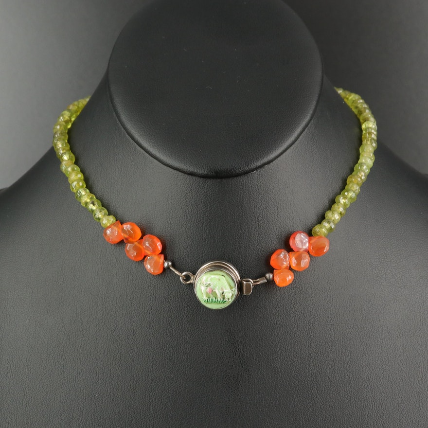Sterling Grazing Cow Beaded Necklace with Peridot and Carnelian