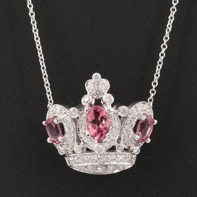 18K Tourmaline and 1.08 CTW Diamond Crown Necklace