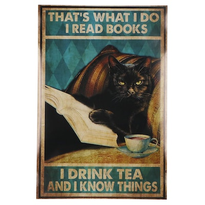 Pop Art Giclée of Black Cat Lounging with Book and Tea, 21st Century