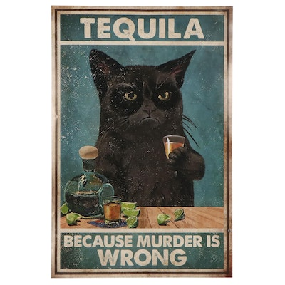 Giclée of Black Cat With Drink, 21st Century