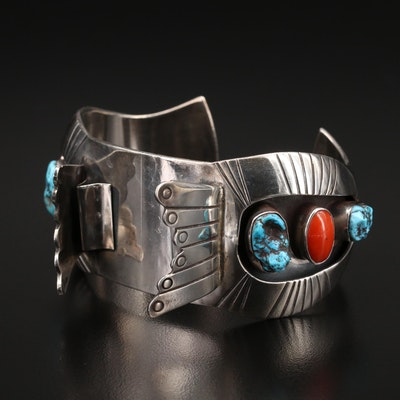 Roger Lewis Navajo Diné Sterling Watch Cuff with Coral and Turquoise