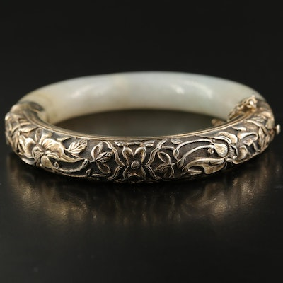 Vintage Chinese Sterling and Jadeite Hinged Bangle with Floral Repoussé
