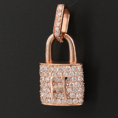 "18K Rose Gold 1.73 CTW Diamond ""H"" Lock Pendant"