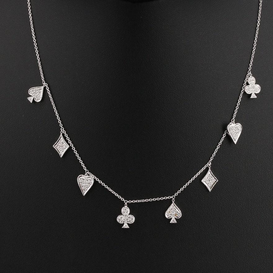 "Mia & Ko. ""Deck of Cards"" 18K Diamond Station Necklace"