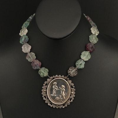 Carved Pendant Necklace Attributed to Jules Prosper Legastelois