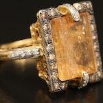 18K 7.72 CT Topaz and Diamond Ring