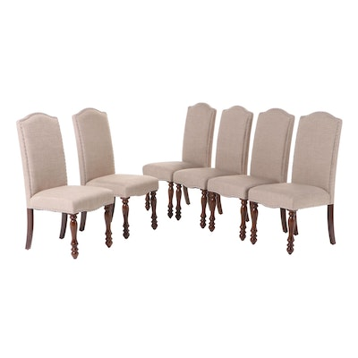 Six Upholstered Dining Chairs with Nailhead Trim