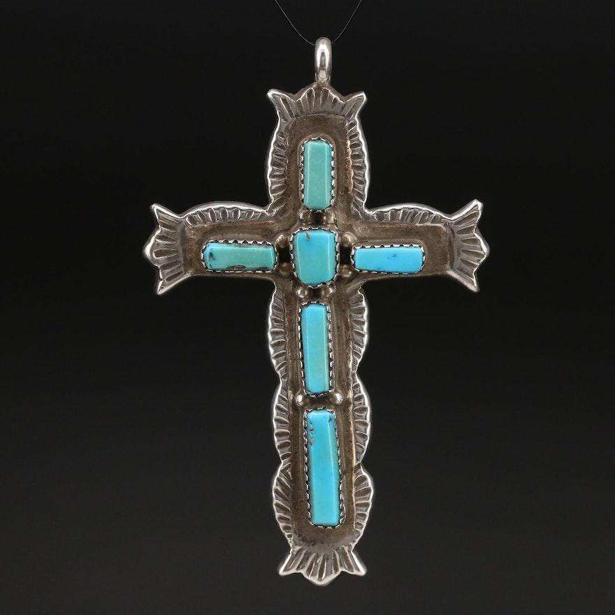 George and Lupeta Leekity Zuni Sterling Turquoise Cross