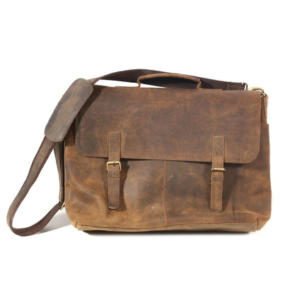 KomalC Buffalo Leather Laptop Briefcase Messenger Bag
