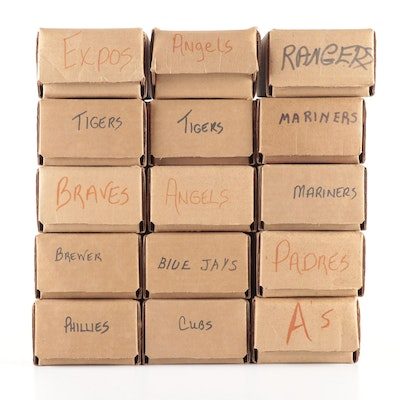"""1985 """"Topps"""" MLB Baseball Cards In Boxes Separated By Teams"""