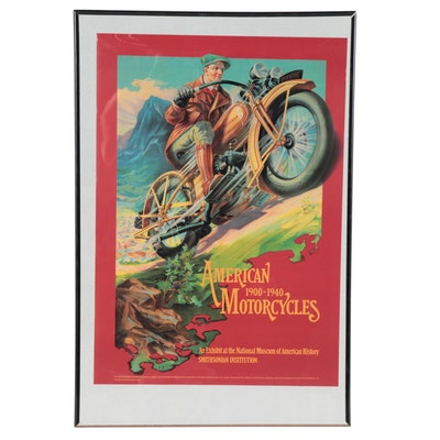 """Offset Lithograph Exhibition Poster """"American Motorcycles 1900-1940"""""""