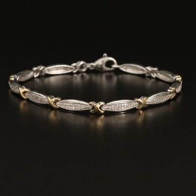 Sterling Diamond Link Bracelet with 10K Accents