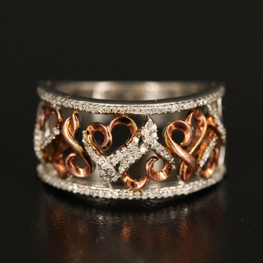 Sterling Silver Diamond Openwork Heart Ring