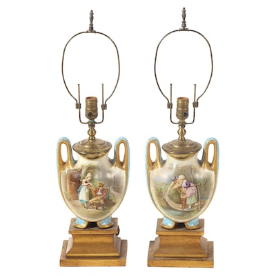 Pair of Hand-Painted Ceramic Urn Table Lamps, Mid-20th Century