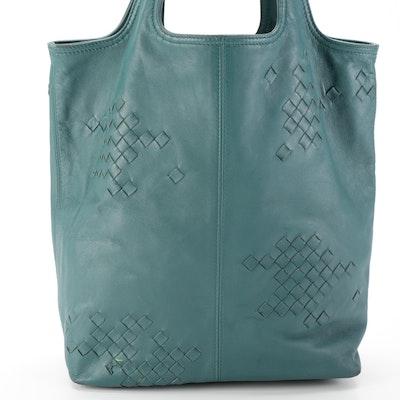 Bottega Veneta Leather Tote Bag with Intrecciato Detail
