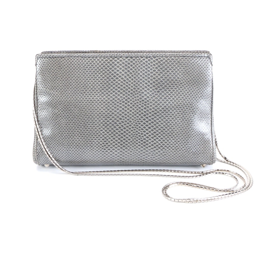 Judith Leiber Shoulder Bag in Silver Metallic Karung Skin for Saks Fifth Avenue