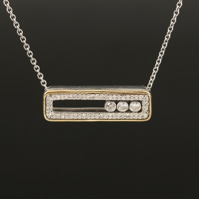 Diamond Slide Necklace in Sterling Silver with 10K Accent