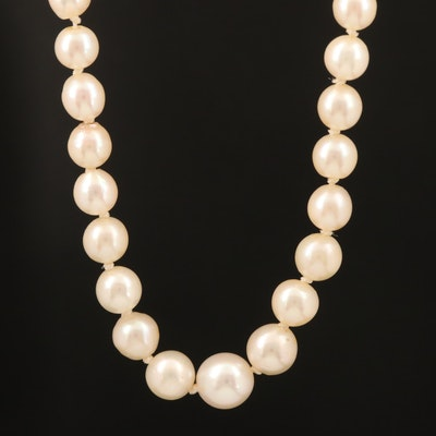 Graduated Pearl Necklace with Sterling Clasp