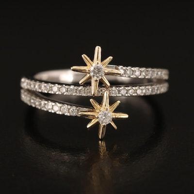 10K Diamond Starburst Wrap Ring