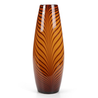 Feather Pulled Art Glass Vase