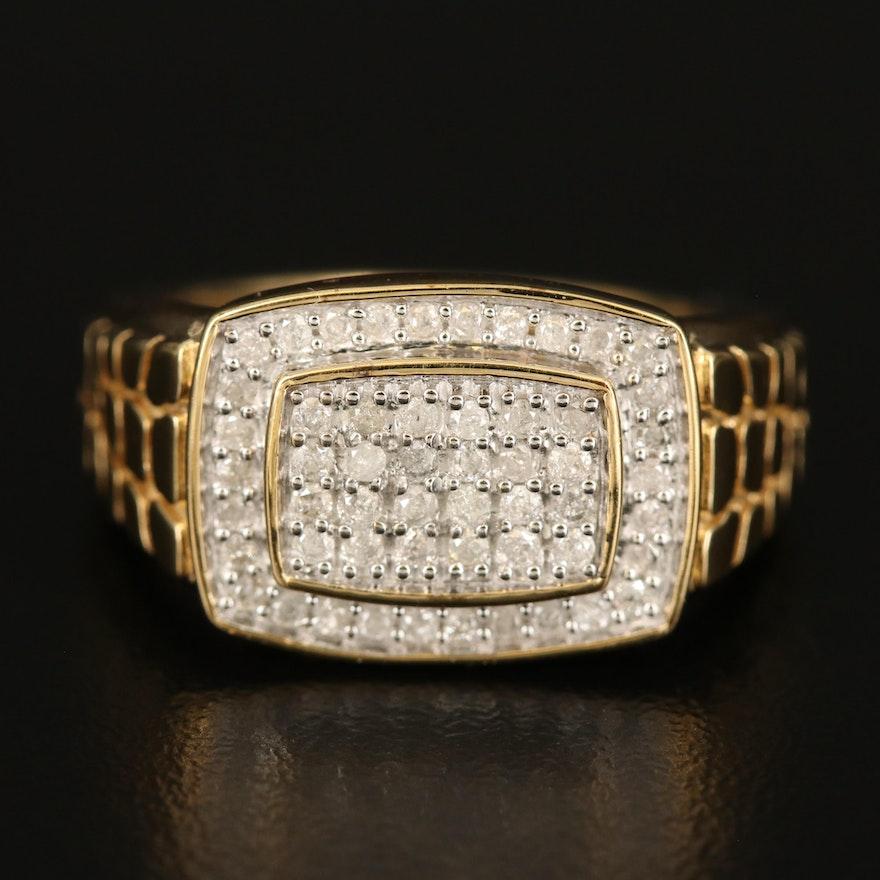 Sterling Diamond Rectangular Ring Textured Shoulders