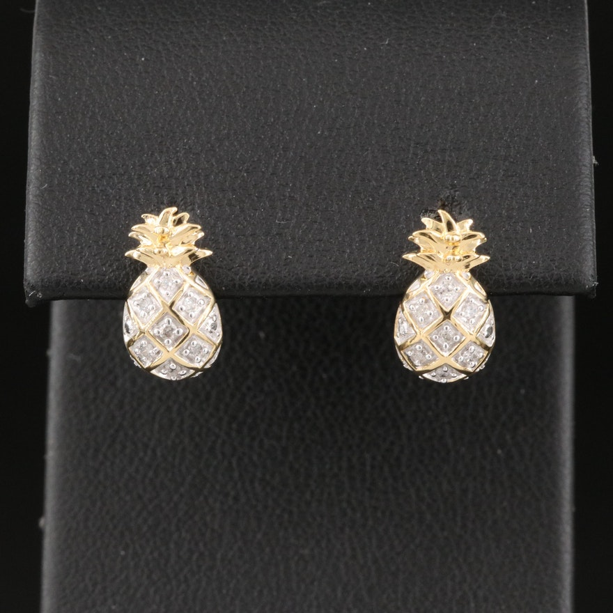 Sterling Diamond Pineapple Earrings