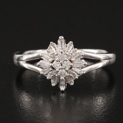 Sterling Diamond Burst Ring
