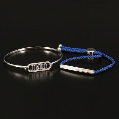 Sterling Silver Diamond Mom Bangle and Corded Bar Bracelet
