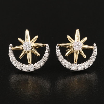 10K and Sterling Diamond Crescent Moon and Star Earrings