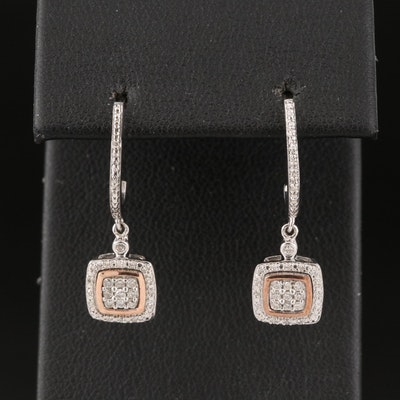 Sterling Diamond Drop Earrings with 10K Accents