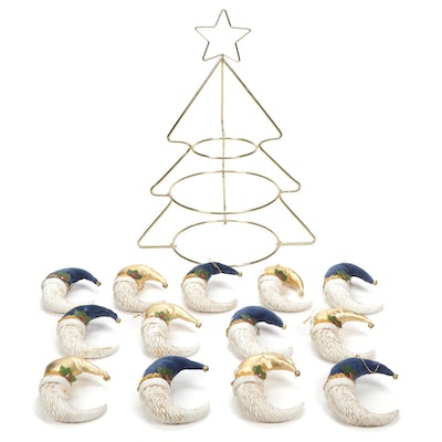 Christmas Tree Appetizer Display and with Santa Ornaments