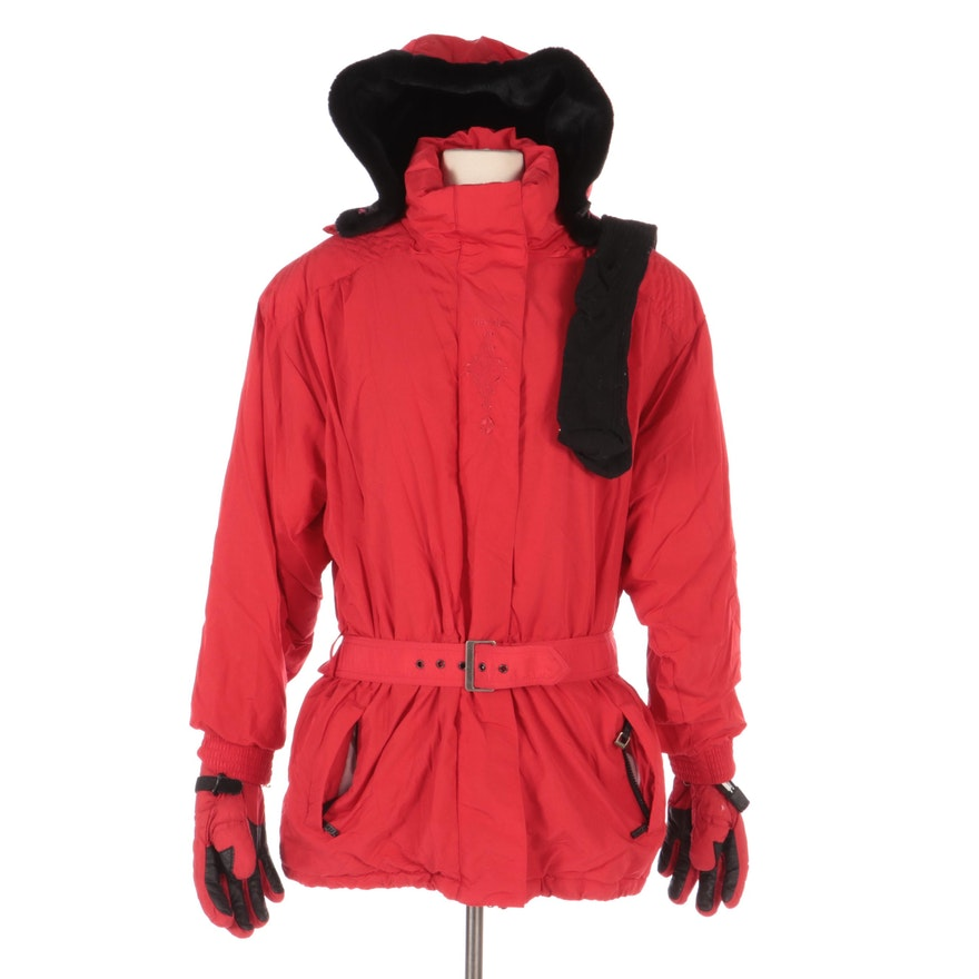 Roffe Belted Red Winter Parka with Detachable Hood, Grandoe Gloves, and Socks