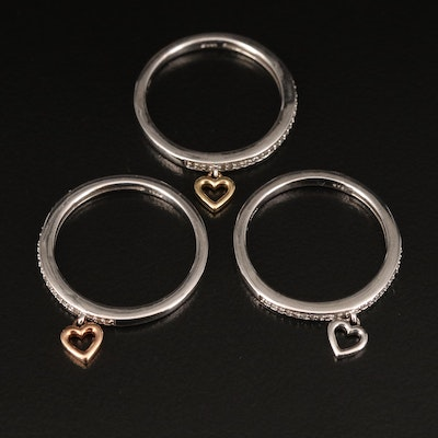 Sterling Diamond Stackable Heart Charm Rings Including 10K Accents