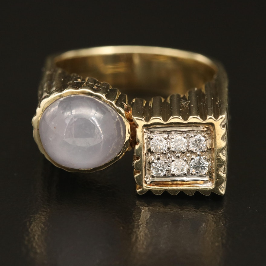 1960s 14K 6.32 CT Star Sapphire and Diamond Ring